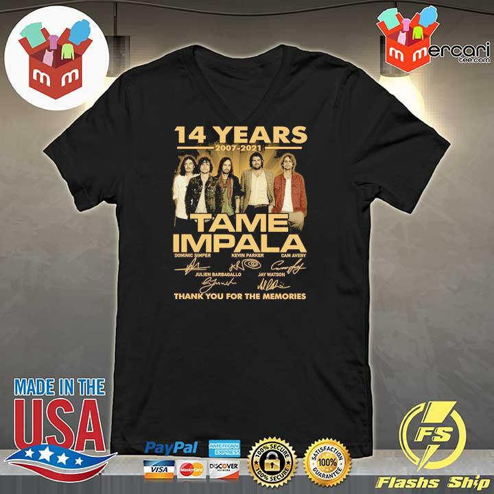 Official 14 years 2007 - 2021 tame impala dominic simper kevin parker cam avery thank you for the memories V-neck