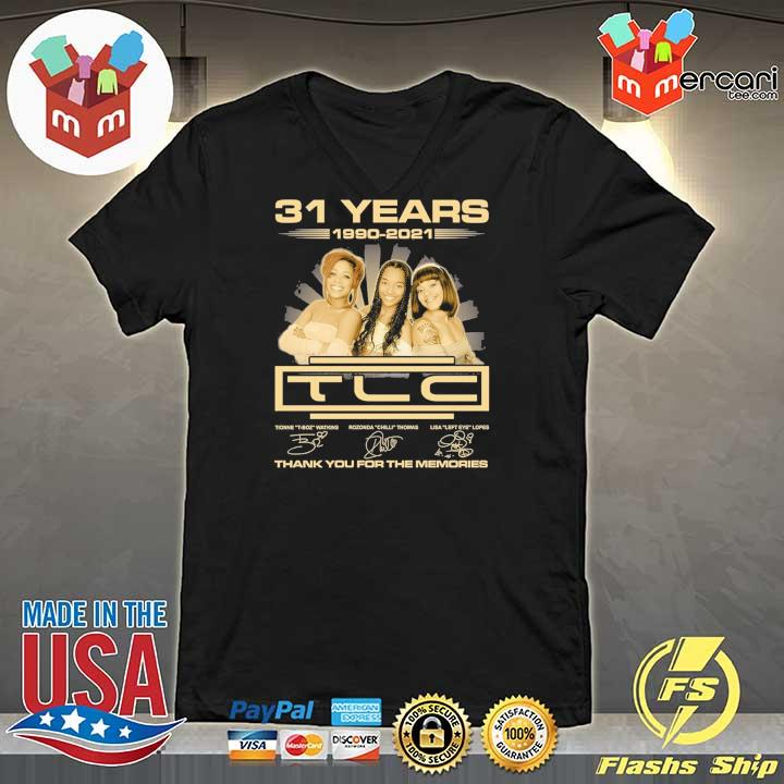 Official 31 years 1990 - 2021 tcl signatures thank you for the memories V-neck