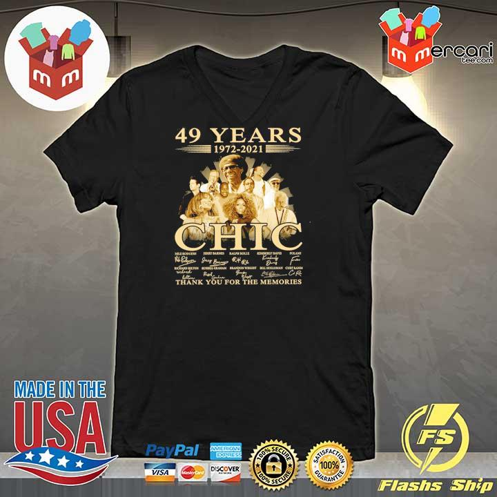 Official 49 years 1972 - 2021 chic nile rodgers signature thank you for the memories V-neck