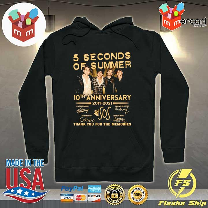 Official 5 seconds of summer 10th anniversary 2011 - 2021 signature thank you for the memories Hoodie