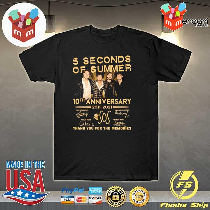 Official 5 seconds of summer 10th anniversary 2011 - 2021 signature thank you for the memories shirt