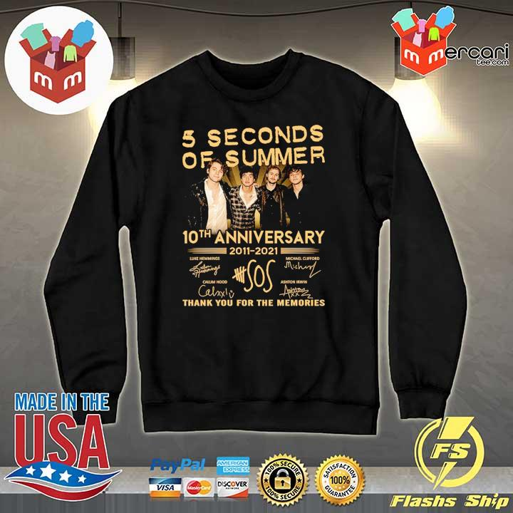 Official 5 seconds of summer 10th anniversary 2011 - 2021 signature thank you for the memories Sweater