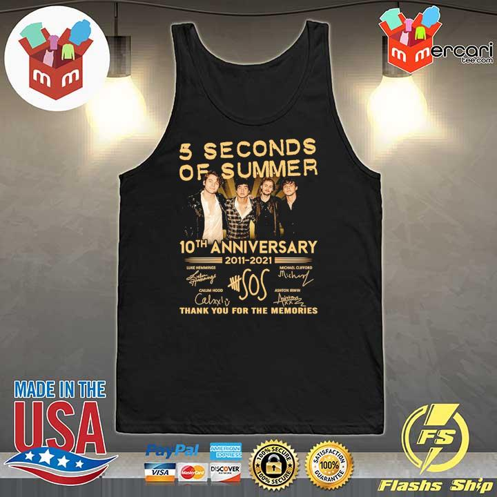 Official 5 seconds of summer 10th anniversary 2011 - 2021 signature thank you for the memories Tank-Top