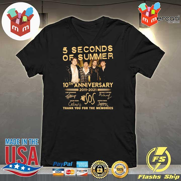 Official 5 seconds of summer 10th anniversary 2011 - 2021 signature thank you for the memories V-neck