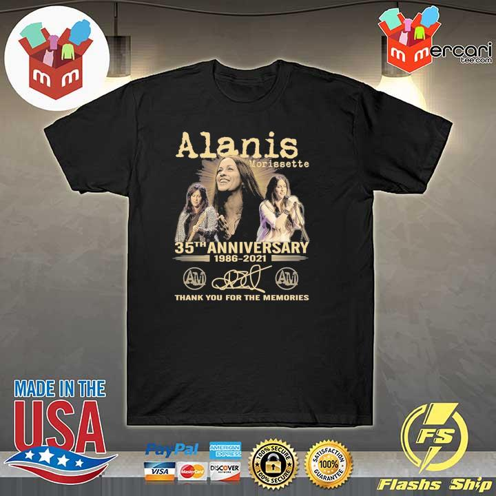 Official alanis morissette 35th anniversary 1986 - 2021 signature thank you for the memories shirt