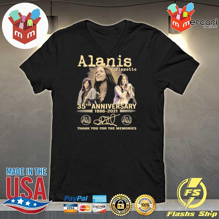 Official alanis morissette 35th anniversary 1986 - 2021 signature thank you for the memories V-neck