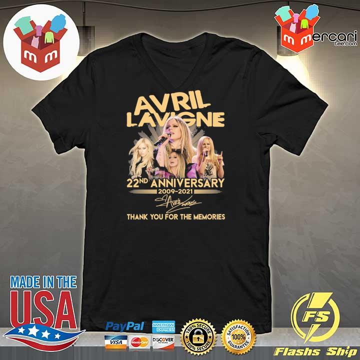 Official avril lavigne 22nd anniversary 2009 - 2021 signature thank you for the memories V-neck