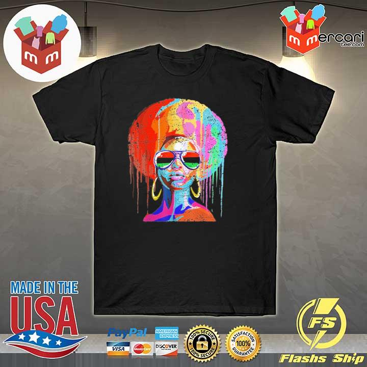 Official black queen afro melanin art shirt