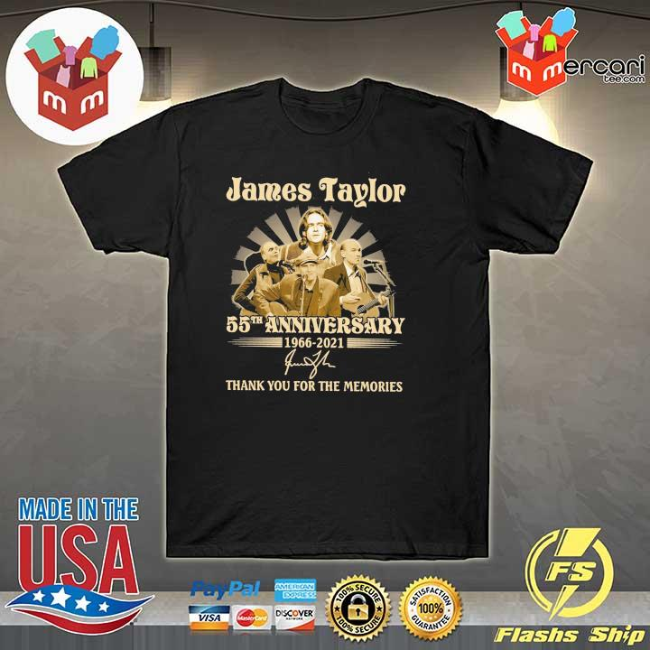 Official james taylor 50th anniversary 1966 - 2021 signatures thank you for the memories shirt