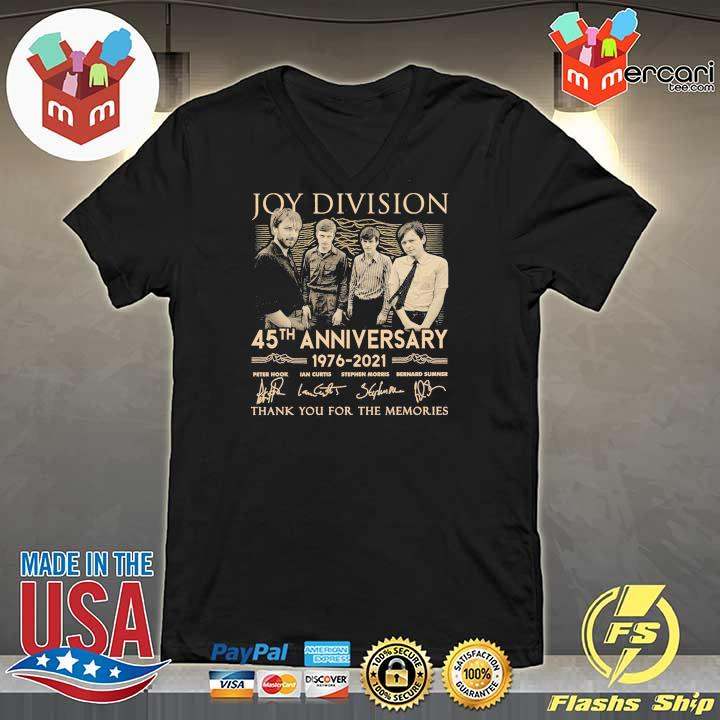 Official joy division 45th anniversary 1976 - 2021 peter hook ian curtis signatures thank you for the memories V-neck