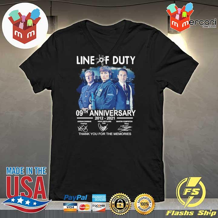 Official live of duty 09th anniversary 2021 - 2021 adrian dunbar vicky mcclure martin compston signatures thank you for the memories V-neck