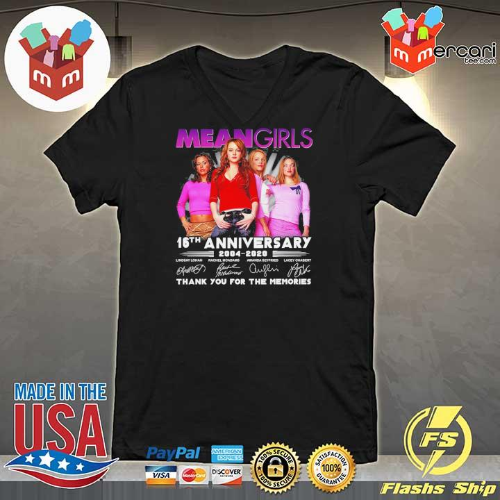 Official mean girls 16th anniversary 2004 - 2020 signatures thank you for the memories V-neck