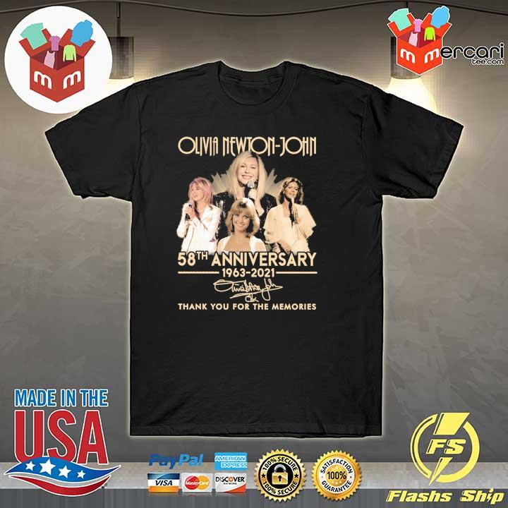 Official olivia newton-john 58th anniversary 1963 - 2021 signature thank you for the memories shirt