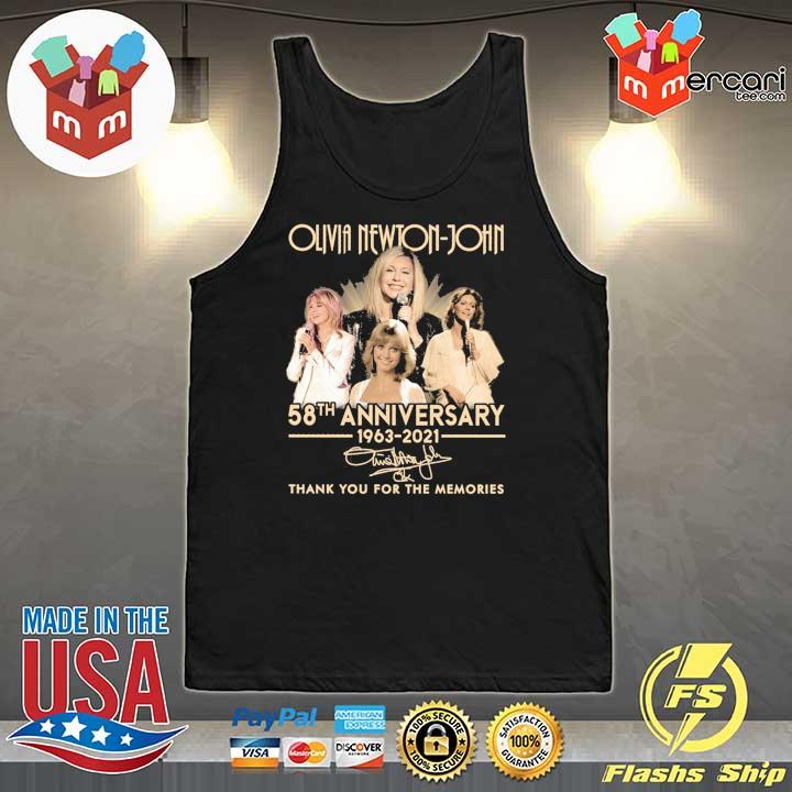 Official olivia newton-john 58th anniversary 1963 - 2021 signature thank you for the memories Tank-Top