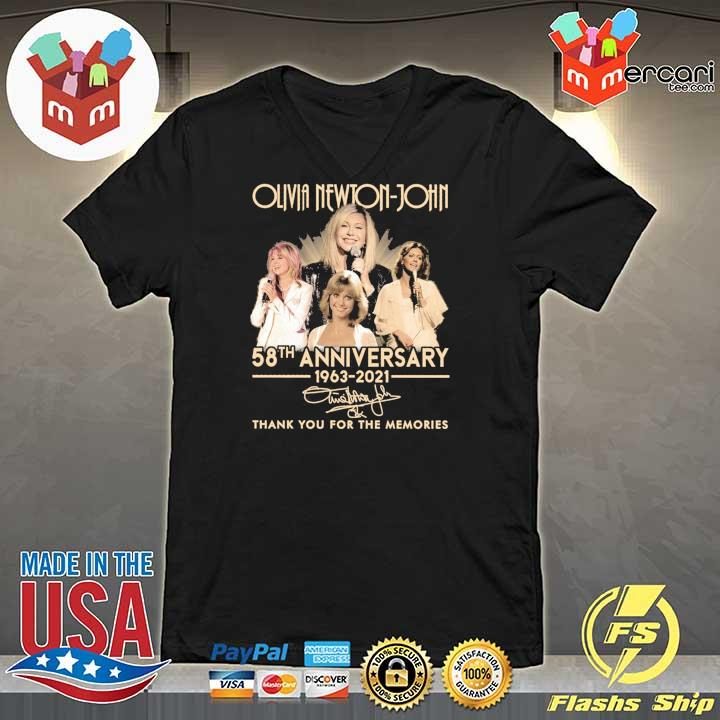 Official olivia newton-john 58th anniversary 1963 - 2021 signature thank you for the memories V-neck