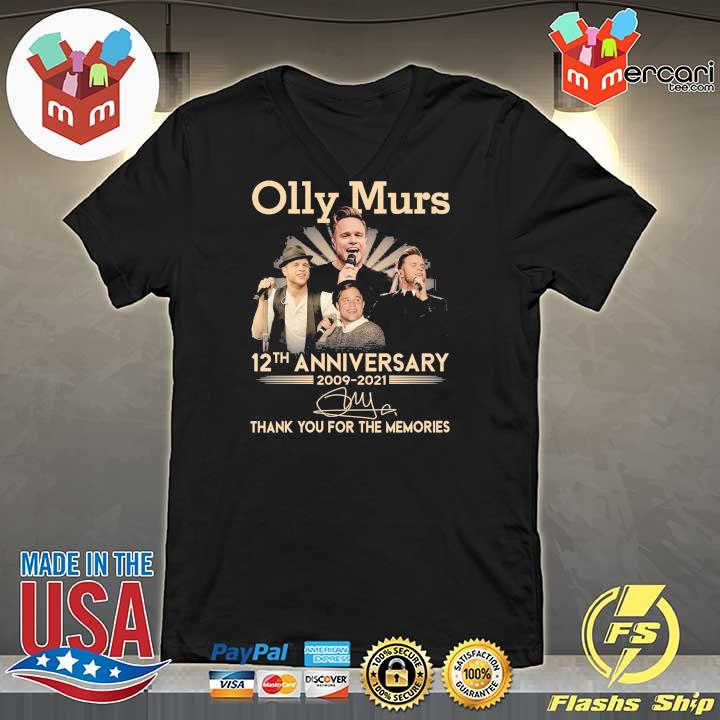 Official olly murs 12th anniversary 2009 - 2021 signature thank you for the memories V-neck
