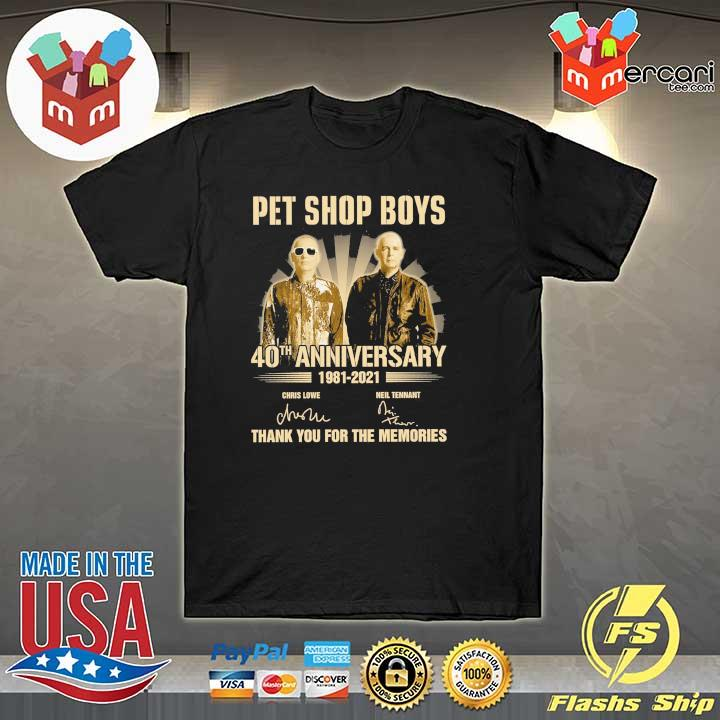 Official pet ship boys 40th anniversary 1981 - 2021 chris lowe neil tennant signatures thank you for the memories shirt
