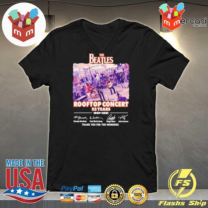 Official the beatles rooftop concert 52 years 1969 - 2021 signatures thank you for the memories V-neck