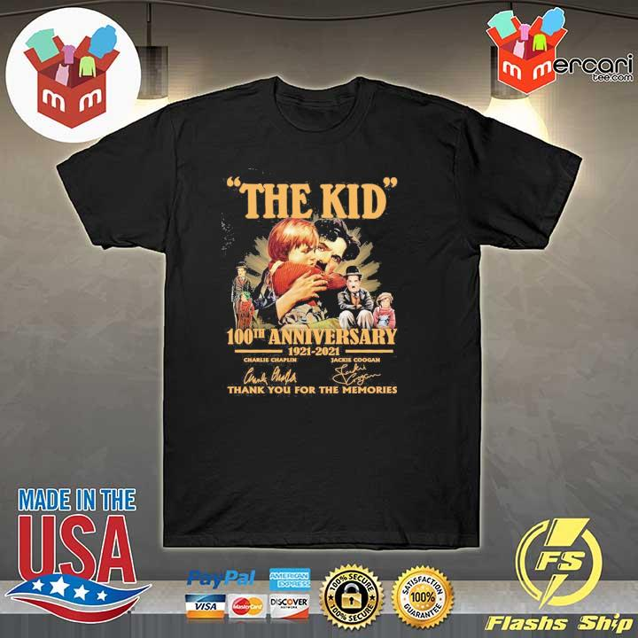 Official the kid 100th anniversary 1921 - 2021 charlie chaplin jackie coogan signatures thank you for the memories shirt