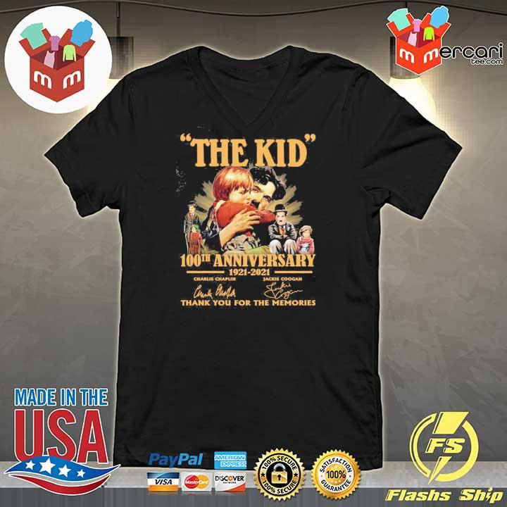 Official the kid 100th anniversary 1921 - 2021 charlie chaplin jackie coogan signatures thank you for the memories V-neck