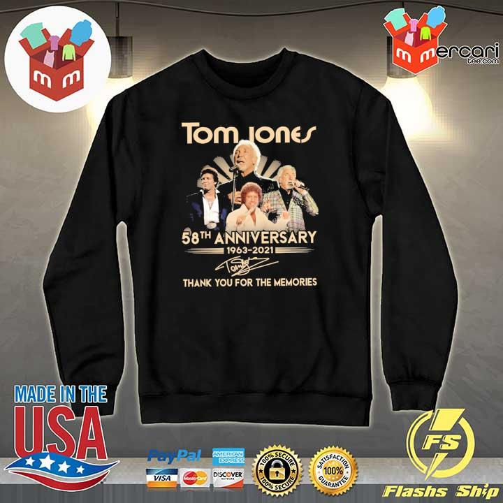 Official tom jones 58th anniversary 1963 - 2021 signatures thank you for the memories Sweater