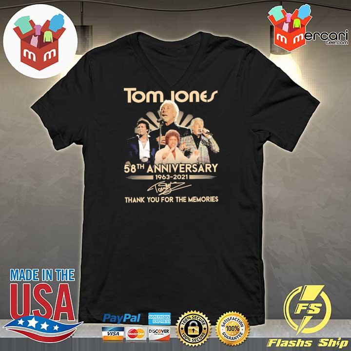 Official tom jones 58th anniversary 1963 - 2021 signatures thank you for the memories V-neck