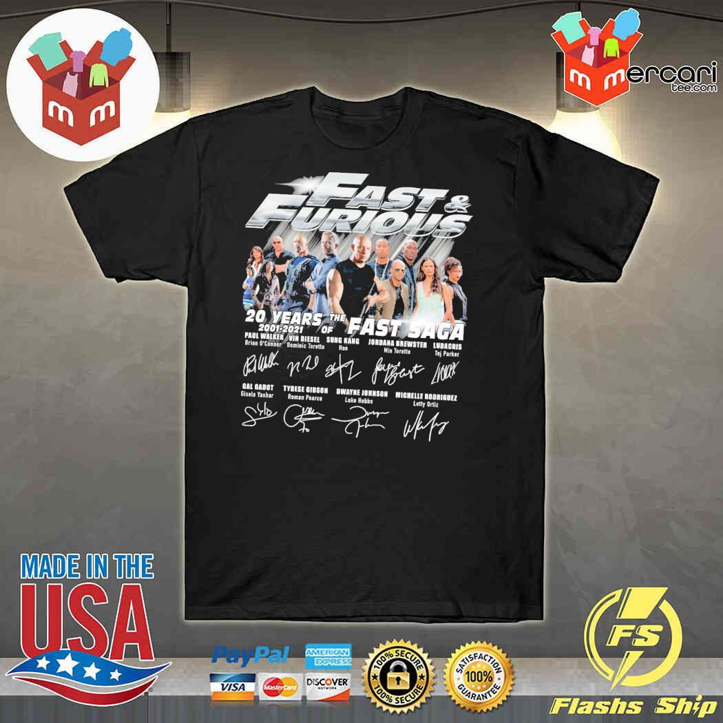 Fast And Furious 20 Years Of The Fast Saga 2001 2021 Signatures Shirt