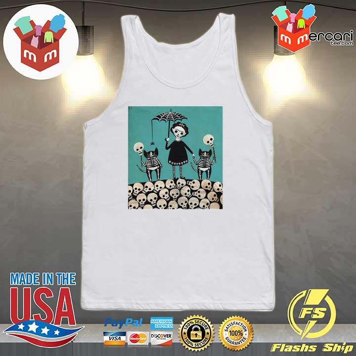 A Girl And Her Cats Have Dressed The Dia De Los Muertos Celebration Shirt Tank-top