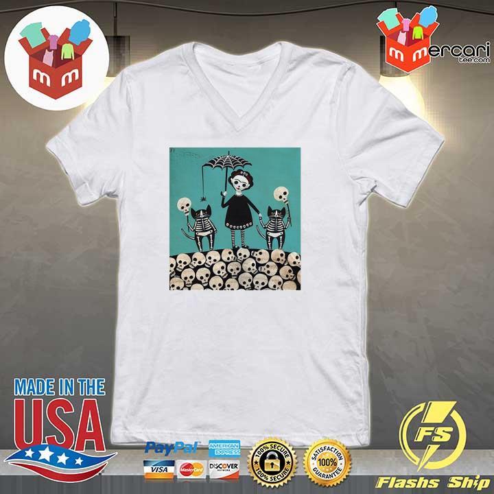 A Girl And Her Cats Have Dressed The Dia De Los Muertos Celebration Shirt V-neck