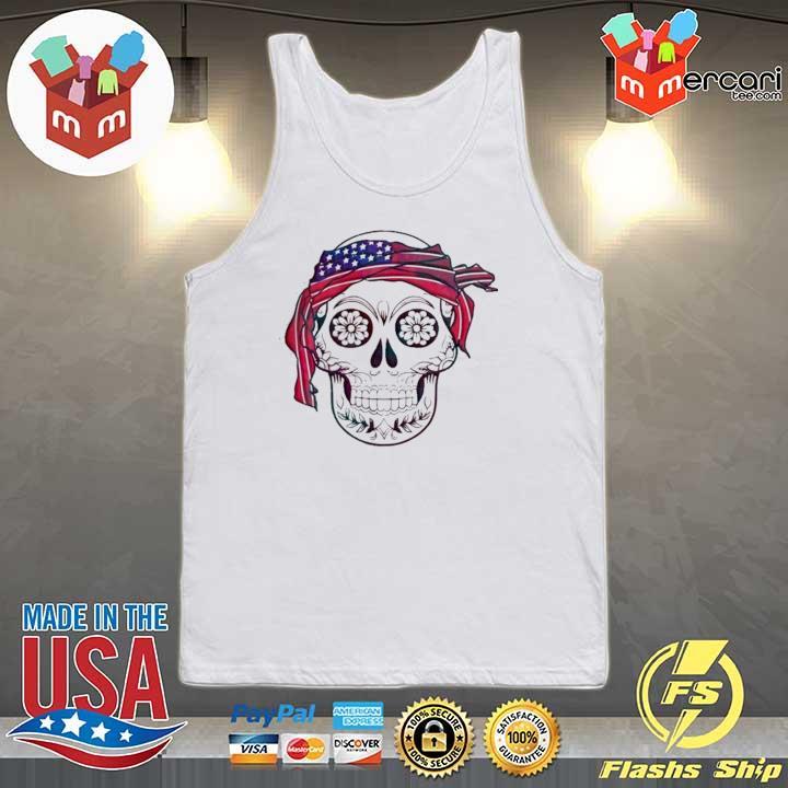 AMERICA FLAG HEADBAND SKULL DÍA DE LOS MUERTOS SHIRT Tank-top