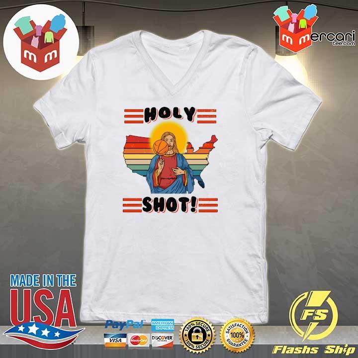 American Basketball Jesus Holy Shot Vintage Shirt V-neck