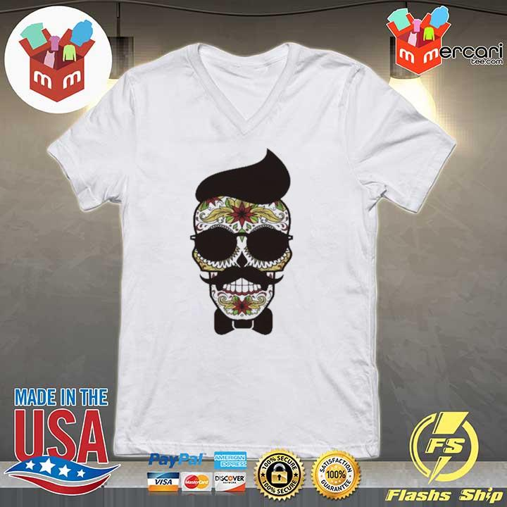 Funny Sugar Skull Gentlemen Day Of Dead Dia De Muertos Shirt V-neck