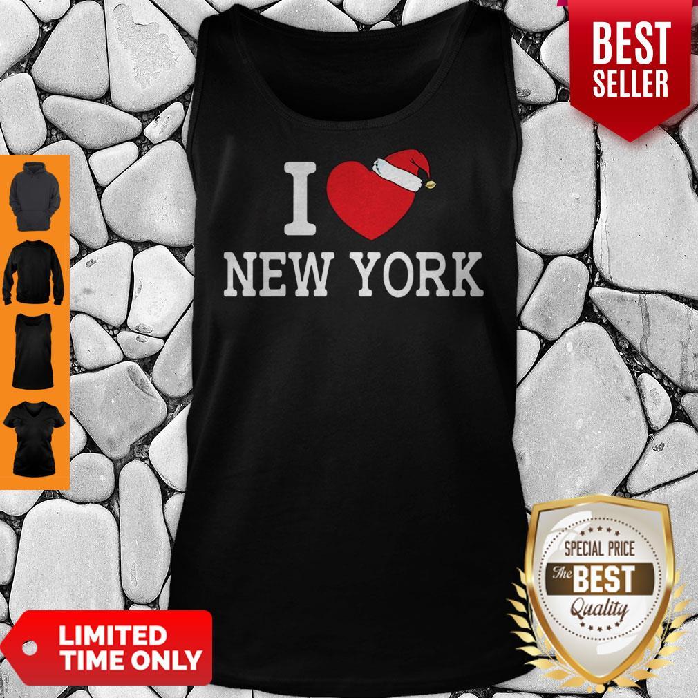 I Heart New York Christmas Santa Hat New York Strong Love Tank Top