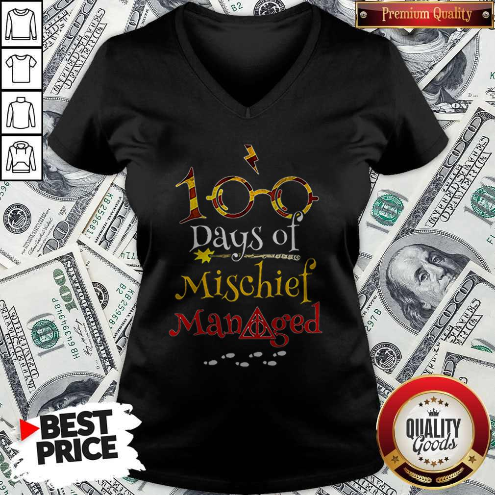 Teacher 100 Days Of Mischief Managed Harry Potter V-neck