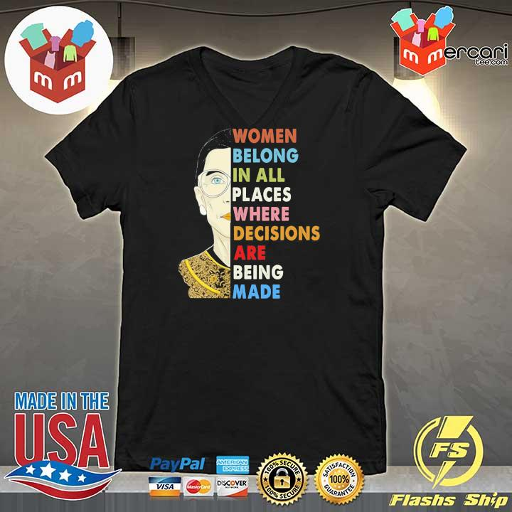 Womens Notorious RBG Women Belong In All Places Ruth Bader Ginsburg T-s V-neck