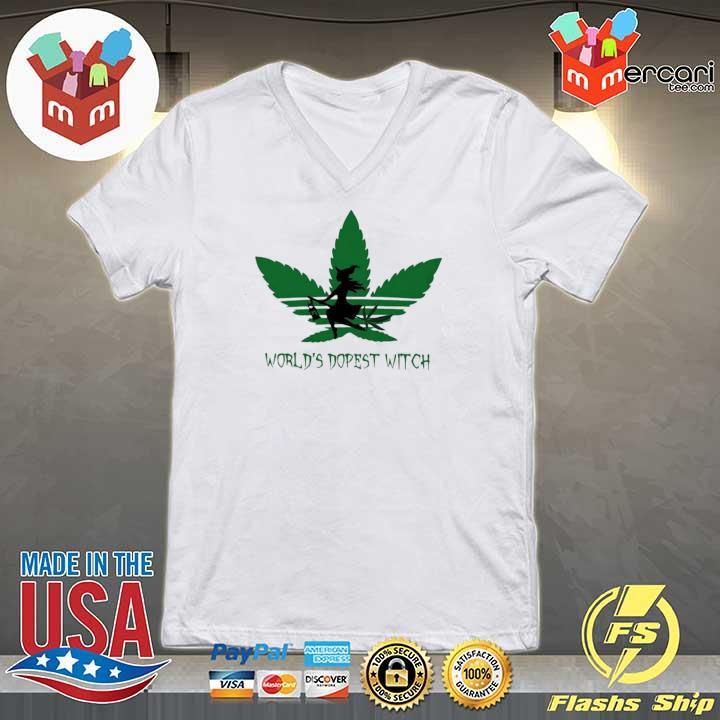 Adidas Weed Cannabis Worlds Dopest Witch Shirt V-neck