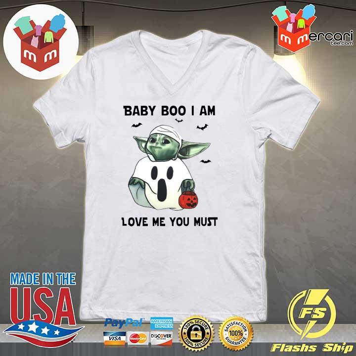 Baby Yoda Baby Boo I Am Love Me You Must Halloween Yoda T-Shirt V-neck