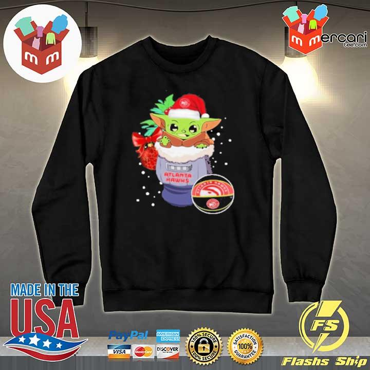 2020 atlanta hawks christmas baby yoda star wars funny happy nba sweats Sweater