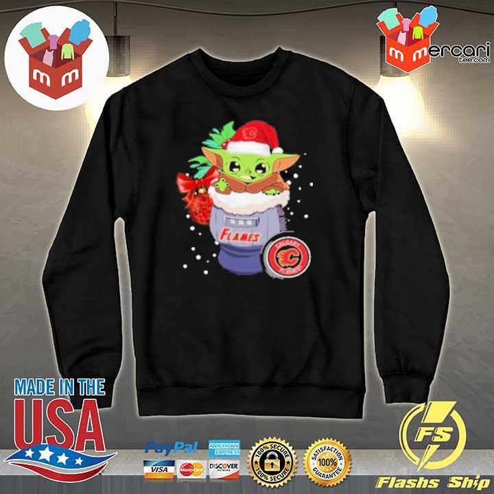 2020 calgary flames christmas baby yoda star wars funny happy nhl sweats Sweater