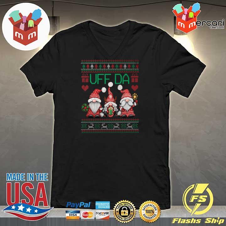 2020 gnomes uff da nisser merry christmas xmas ugly sweats V-neck