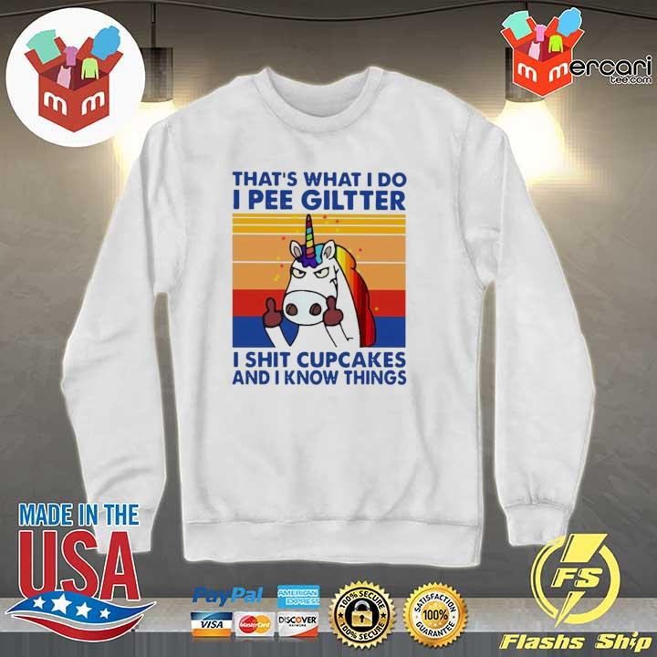 2020 lgbt unicorn that's what i do i pee glitter shit cupcakes and i know things vintage sweats Sweater
