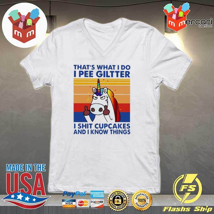 2020 lgbt unicorn that's what i do i pee glitter shit cupcakes and i know things vintage sweats V-neck