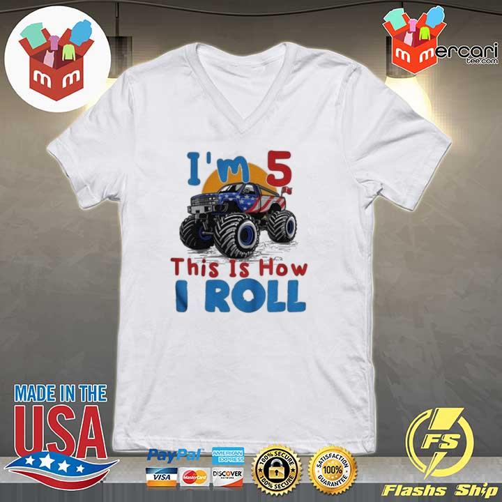 2020 official i'm 5 this is how i roll truck 4 wheeler monster birthday sweats V-neck