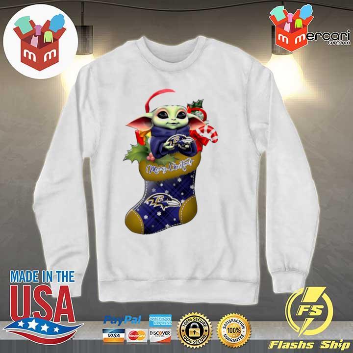 2020 baby yoda hug baltimore ravens ornament merry christmas 2020 s Sweater