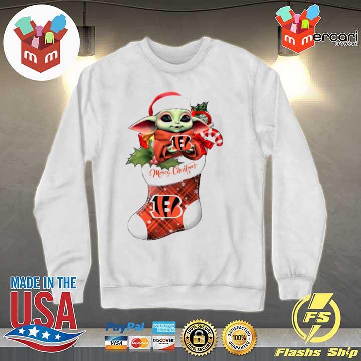 2020 baby yoda hug cincinnati bengals ornament merry christmas 2020 s Sweater