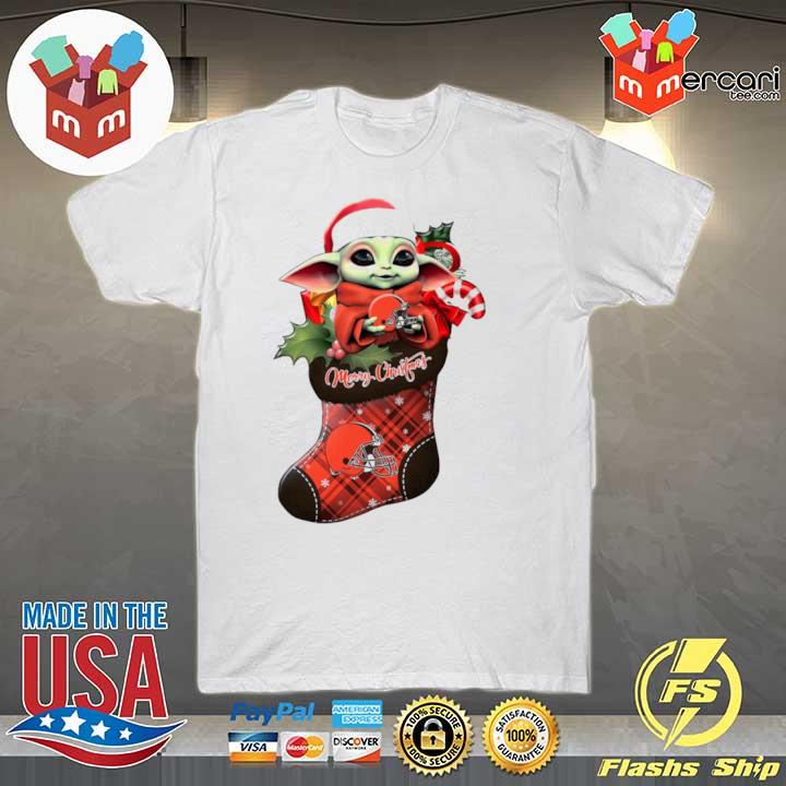 2020 baby yoda hug cleveland browns ornament merry christmas 2020 shirt