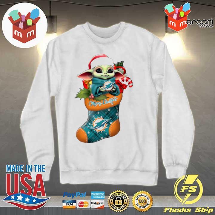 2020 baby yoda hug miami dolphins ornament merry christmas 2020 s Sweater