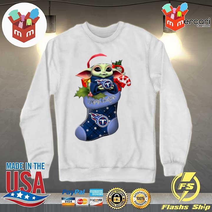 2020 baby yoda hug tennessee titans ornament merry christmas 2020 s Sweater
