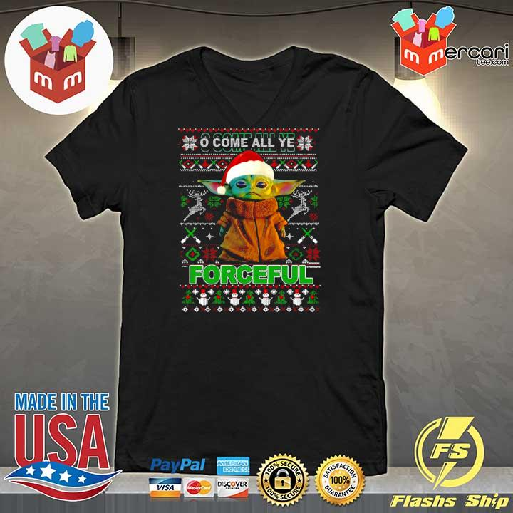 2020 baby yoda o come all ye forceful ugly merry christmas s V-neck