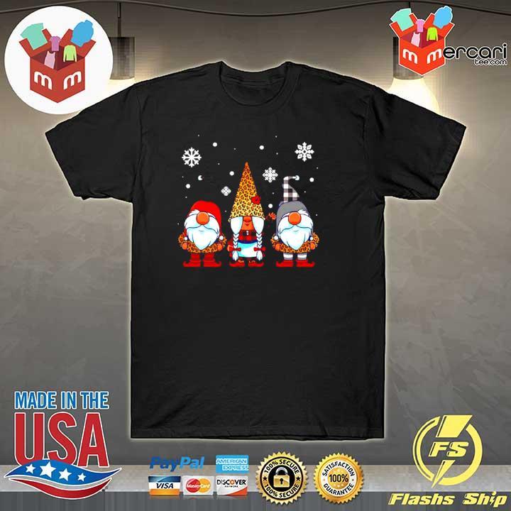 2020 three gnomes in leopard print buffalo plaid christmas sweatshirt